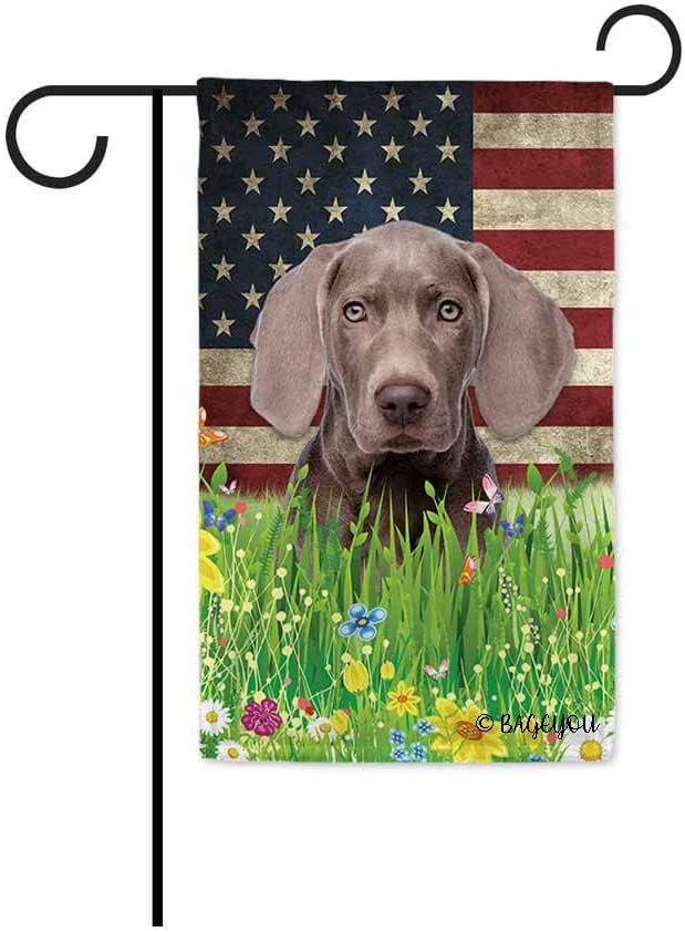Bageyou Cute Puppy Weimaraner Garden Flag Lovely Pet Dog American Us Flag Wildflowers Floral Grass Spring Summer Home Decorative Patriotic Banner For Outside 12 5x18 Inch Printed Double Sided Garden Outdoor