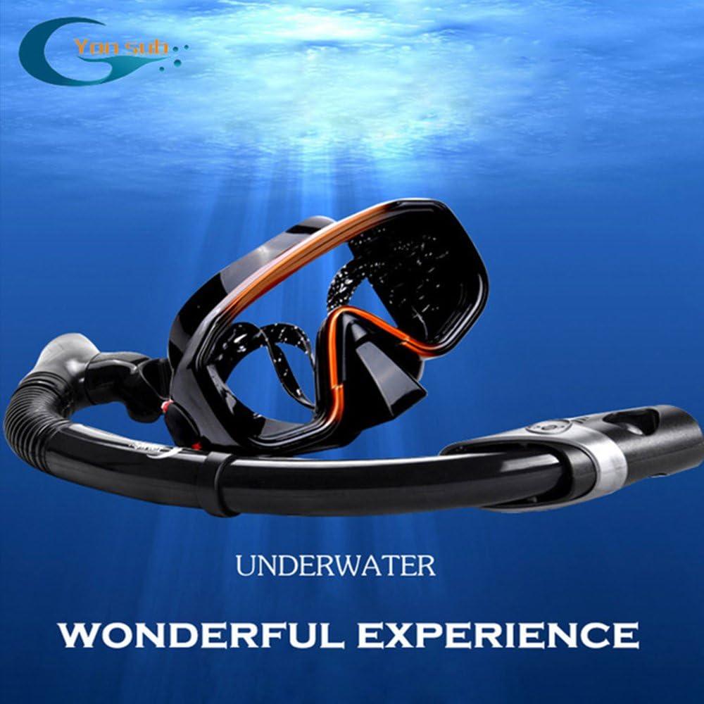 yonsub Panoramic Wide View Mask /& Dry Snorkel Kit for Snorkeling Anti-Leak Dry Top Snorkel Set