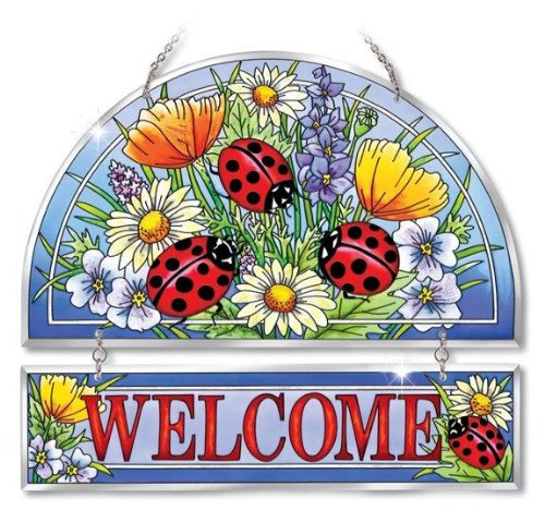 Amia Beveled Glass Hospitality Panel Hand-Painted Ladybug Design, 12 by ()