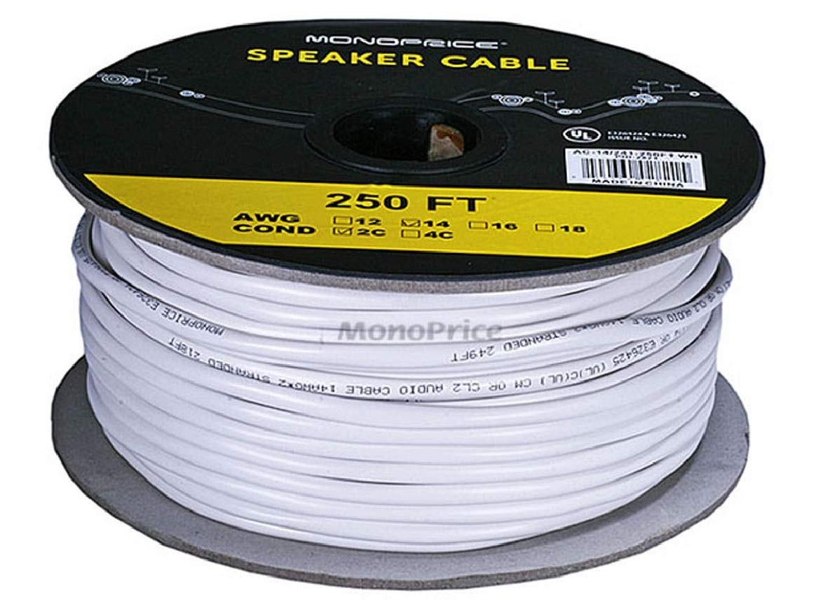 Monoprice 102821 Access Series 14 Gauge AWG CL2 Rated 2 Conductor Speaker WireCable  250ft Fire