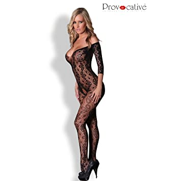 09451d39855 Provocative PR4162 Small Large Long Sleeves Open Crotch Bodystocking Low  Cut Front and Back
