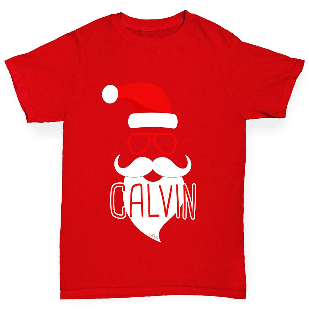 Boys Personalised Hipster Santa Beard Cotton T-Shirt Age 5-6 Red