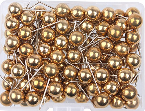 [AnMiao Star 1/4 Inch Map Tacks Used for Marking,Plastic Round head Stainless Needle Points Push Pins for Bulletin Board,Office and Home Usage,Variety DIY Craft, Pack of 100.(Gold)] (Cork Board Push Pins)