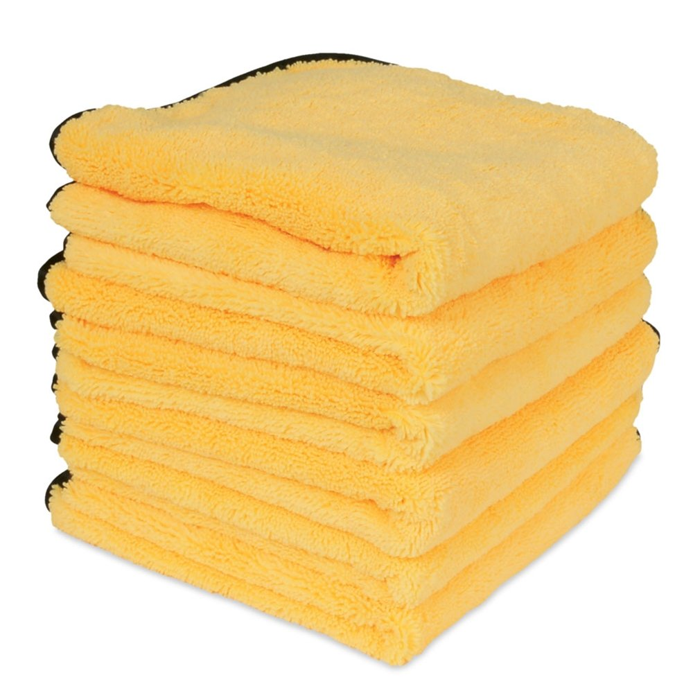 Liquid X Professional Grade Premium Microfiber Drying Towel XXL : Gold w/Black Silk Edges 25'' x 36'' (6 Pack)
