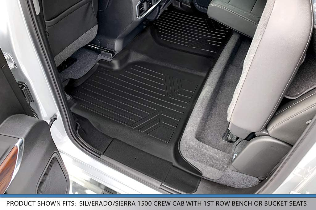 MAX LINER B0400 Custom Floor Mats 2nd Liner Black for 2019 Silverado//Sierra 1500 Crew Cab with 1st Row Bench or Bucket Seats