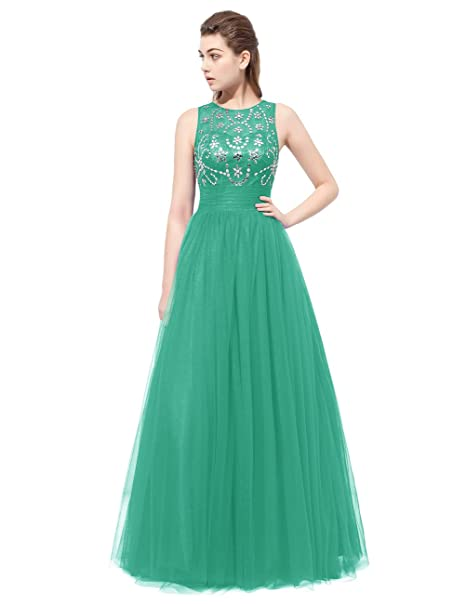 Vestido largo verde espalda descubierta