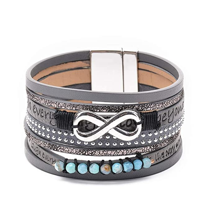 a8ac688978e64 BRIGHT MOON Multilayer Leather Wrap Bracelet Exquisite Boho Handmade  Leather Magnetic Buckle Cuff Bangle Bracelets for Women Girls Ladies