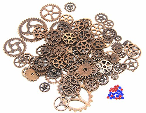 IBS 150 Gram Copper Steampunk Clock Watch Wheel Gears Cogs Charms Pendant for DIY Jewelry Making ()