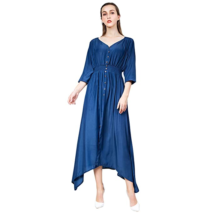 af57022c1c3 Amazon.com  Sirhao Maxi Dress Long Sleeve Dress Women s Button Closing  Split Long Dress Beach Party Maxi Dress   Home   Kitchen