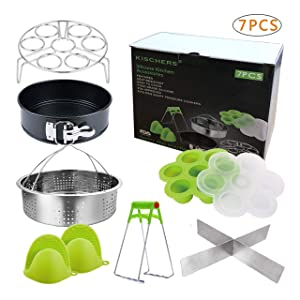 Pressure Cooker Accessories Set, Compatible with Instant Pot 5,6,8 QT Steamer Basket,Egg Rack, Springform Pan,Egg Bites Mold,Steamer Basket Inserts,1Pair Silicone Mitts/7pcs
