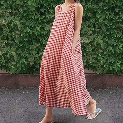 Huaheng Talla Grande Mujer Cuadros Vestido de Verano Algodón Lino Holgado Vestido Largo - Rojo, 5XL: Amazon.es: Jardín