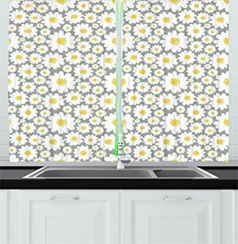 Floral Kitchen Curtains by Ambesonne, Cartoon like Flowers Daisies Spring Time Season Pollens Artwork Print, Window Drapes 2 Panels Set for Kitchen Cafe, 55W X 39L Inches, Light Grey Yellow White