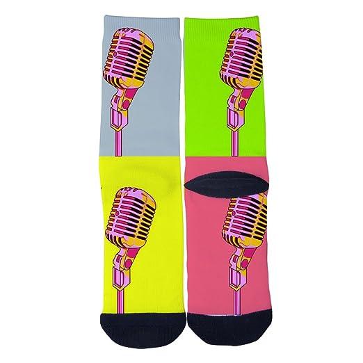 Pair of Mens Retro Microphone Design Black Socks