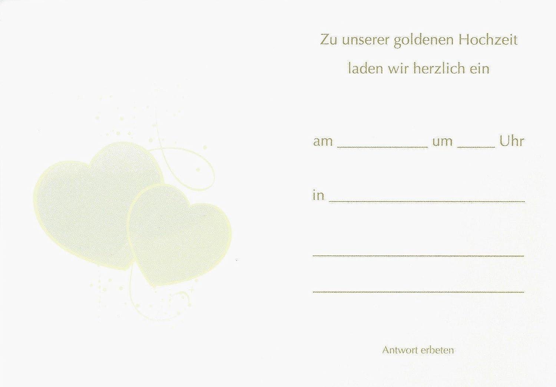 Einladungskarten Goldene Hochzeit Mit Innentext Motiv Herzen
