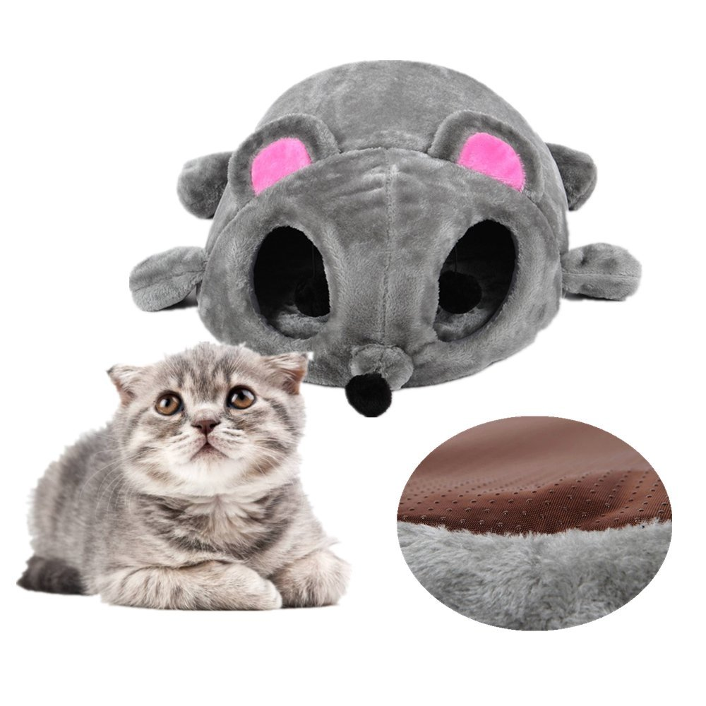 Cat Bed Cave Tunnel Ji Speed 2-in-1 Faux Fur Tube Indoor Cat House Cartoon Mouse Cuddle, with Removable Mat, Non-slip Bottom, Perfect For Cat Kitten, 50 x 40 x 21cm, Grey