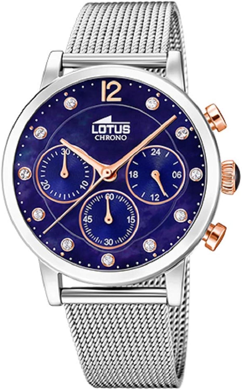 Lotus Reloj Señora - 18676/5 - Acero Plateado y Esfera Azul - Esfera 37 mm