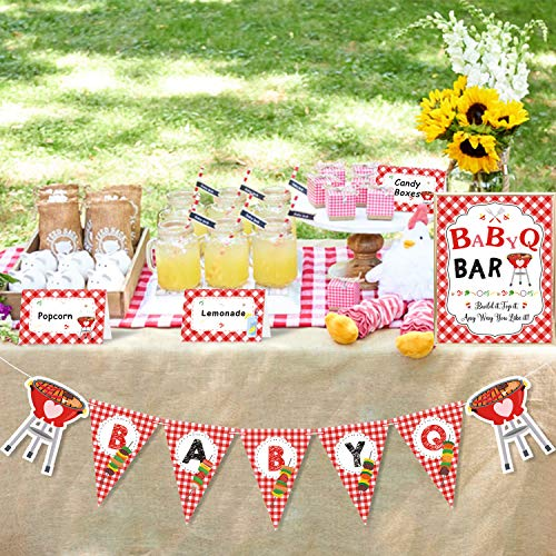 Bessmoso BBQ Baby Shower Party Decorations Kit BabyQ Banner Bar Sign Food Tent Cards Label for Summer Barbecue Gender Reveal Picnic Party Supplies (Bun In The Oven Baby Shower Theme)