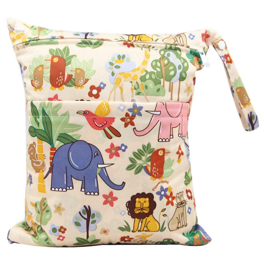 Swimwear Baby Diaper Bag with Dual Zipper Reusable Baby Cloth Wet Dry Bag for Traveling Colorful Stripe Wet or Dry Clothes