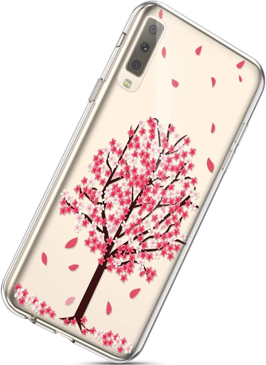 Herbests Compatible with Samsung Galaxy A7 2018 Flower Case Girls Men Clear Design Thin Slim Fit Soft Flexible Crystal Transparent Silicone Rubber TPU Back Cover,Lotus Flower