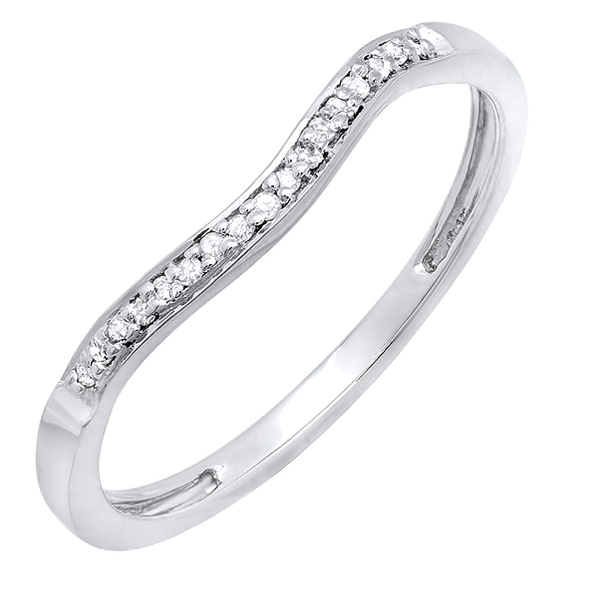 0.10 Carat (cttw) Round White Diamond Ladies Wedding Guard Band Ring 1/10 CT, 10K White Gold, Size 7 by Dazzlingrock Collection