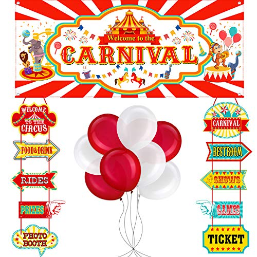 56 Pieces Circus Carnival Party Decoration Set Circus Theme Carnival Banner Carnival Cutouts and Circus Color Balloons Circus Carnival Party Suppliers and -