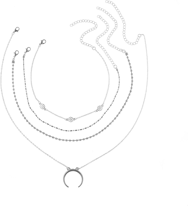 Epinki Collar Multicapa para Mujer Chicas 4 Capa Luna Creciente Flor Colgante con Cadena Ajustable