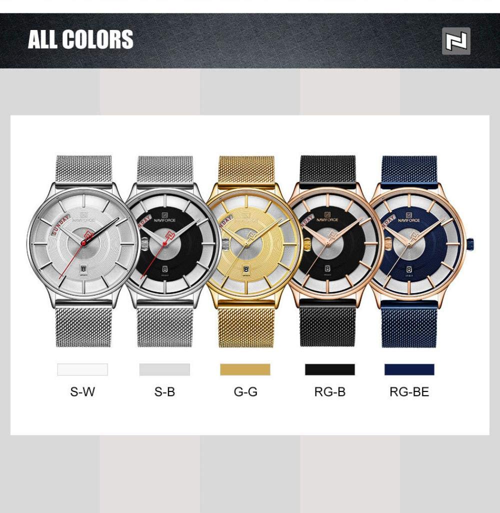 Herrklockor, avslappnad mode affärsnätverk bältesklocka med kalenderfunktion Silver Shell Black-faced Silver Belt