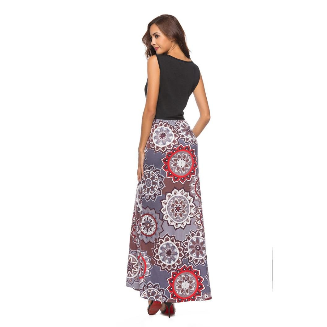 Halijack Women Summer Dress, Ladies Girls Sleeveless Tank Top Maxi Dress Loose Casual Boho Floral Printed Floor-Length Long Dress Special Occasion Dresses ...