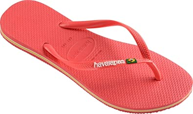 9f78a61a8 Image Unavailable. Image not available for. Colour   Havaianas Slim Brasil  Logo Coral Womens Summer Flip Flops