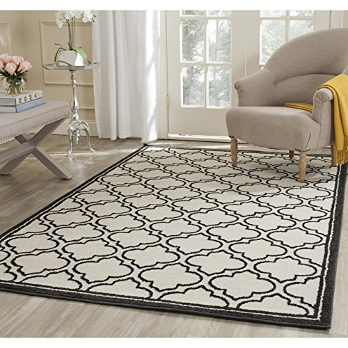 Safavieh Amherst Collection AMT412D Ivory and Anthracite Indoor/ Outdoor Square Area Rug (7' Square) - Black Square Cream
