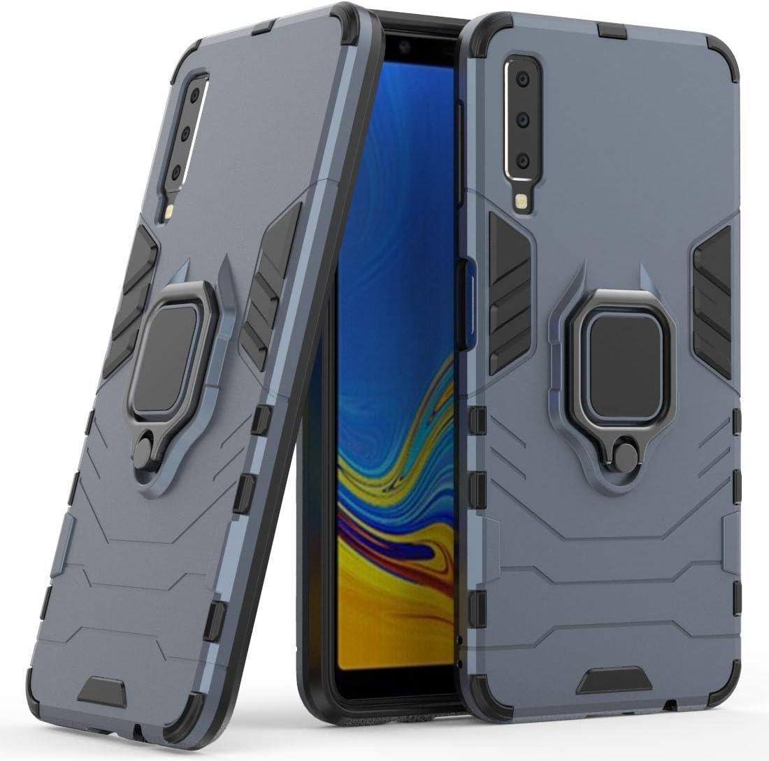 Gel TPU de Silicona Bumper Flexible y Delgada Tel/éfono Case Carcasa Funda para Samsung Galaxy A7 2018 Multi-Funcional Anillo Kickstand 360 Grados Giratorio Ring Grip con Soporte Magn/ético Coche