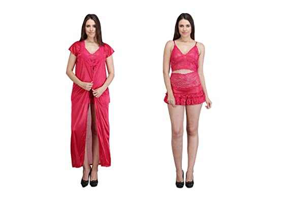 Crazeis Women s 3-Piece Nighty  Amazon.in  Clothing   Accessories ab90e9dae