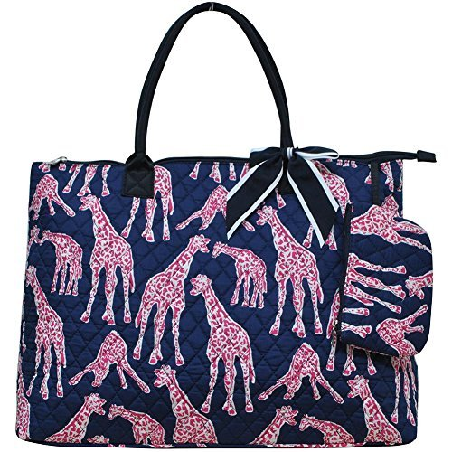 Ngil Quilted Cotton Extra Large Overnight Travel School Tote Bag 2 (Giraffe Navy (Quilted Giraffe)