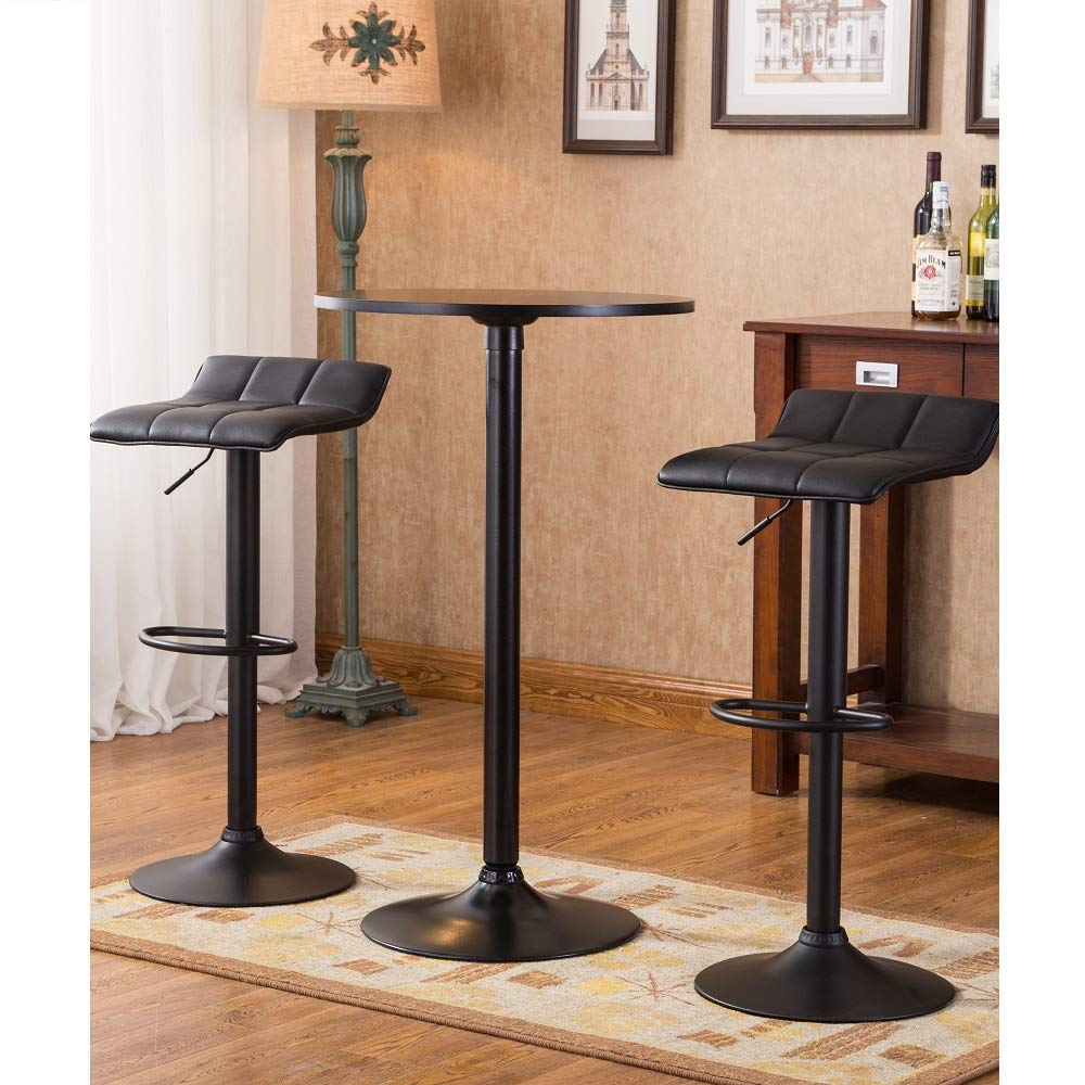 Belham Black Round Top Metal Bar Table and Adjustable Swivel Stools 3-piece Bar Set Bar Vintage Dining Set Table Modern Mid Century Stools Round Extension Svitlife