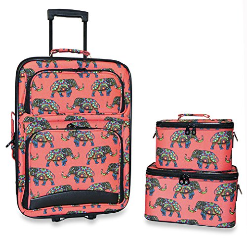 Ever Moda 3-Piece Carry On Luggage Set with Wheels for Travels (Indian Elephant - Pink Salmon) by Ever Moda
