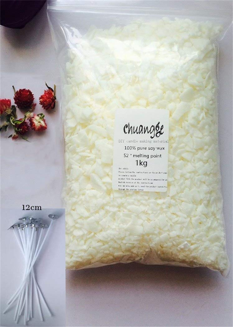 Gano Zen Candle Making 100% Pure Soy Wax Ivory White Slice Aromatherapy Candle Making Supplies Wax Flake DIY Handmade Scents Pillar Candle 1kg and 10pcs Wicks