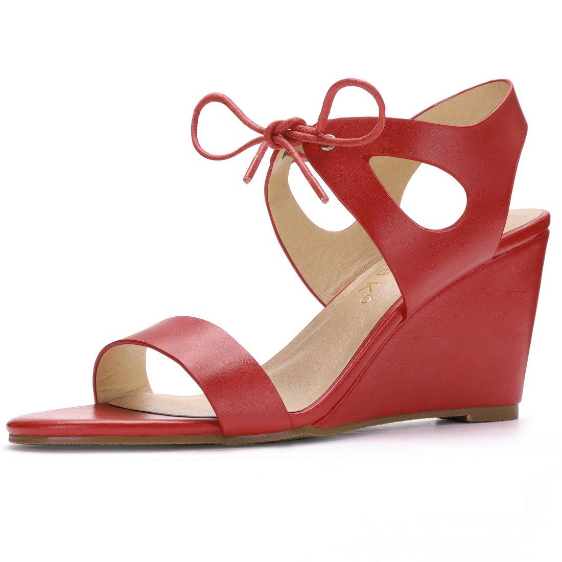 Allegra K Women's Cutout Tie-up Wedge Sandals B073QP85FV 5.5 M US|Red