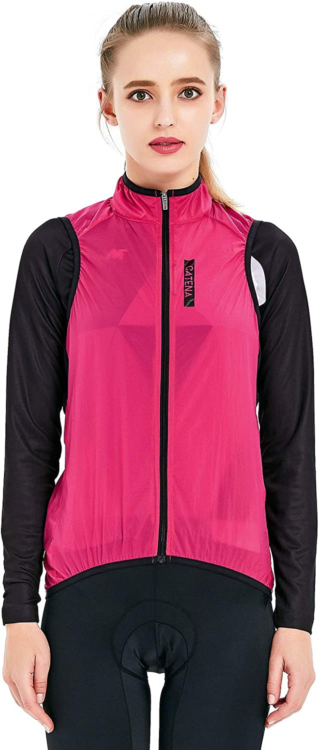 CATENA Women's Vest Cycling Running Wear Visibility Safety Gilet Sleeveless Windstopper Active Windbreaker Pink