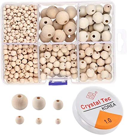 1105 Pcs Wooden Beads Unfinished Wood Beads and Natural Round Wood Beads Set with Crystal Elastic Line 6 mm// 8 mm// 10 mm// 12 mm// 16 mm// 20 mm 6 Sizes Boxed Wood Beads for DIY Jewelry Making