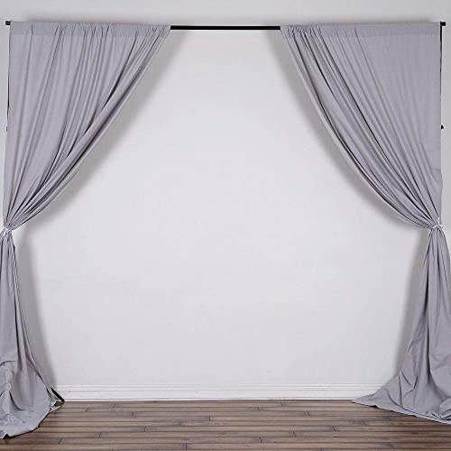 AK TRADING CO. 10 feet x 10 feet Polyester Backdrop Drapes Curtains Panels with Rod Pockets – Wedding Ceremony Party Home Window Decorations – Silver