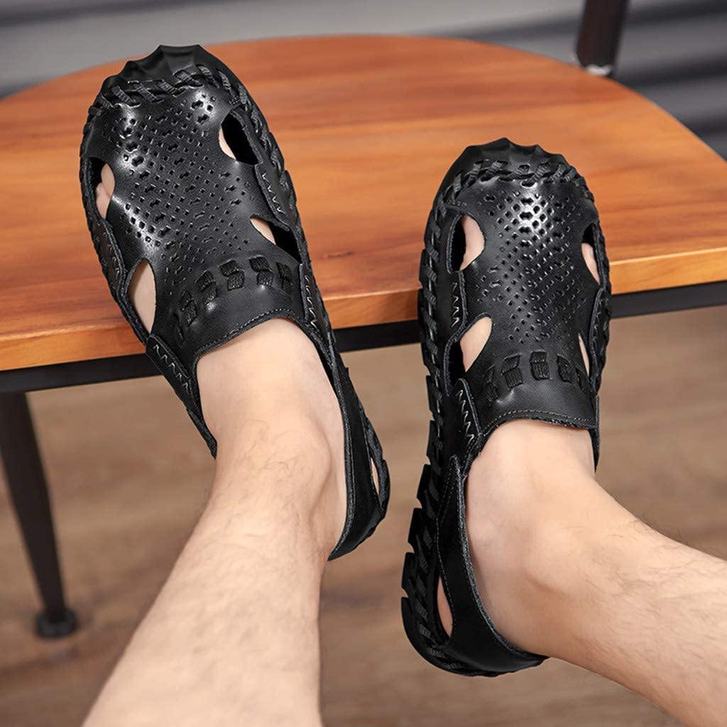 Muyin Sandals for Men Outdoor/ Water Shoes Lace Up Style OX Leather Hollow Anti-Collision Toe