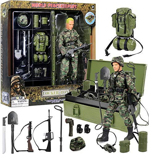 Click N' Play Military Desert Camping 12″ Action Figure with Locker Storage Box Play Set with Accessories