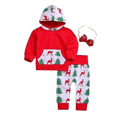 d0a3be9fb Baby Boys Girls Christmas Clothing Set Long Sleeve Deer Tree Print Pocket  Hoodie Tops+Pants