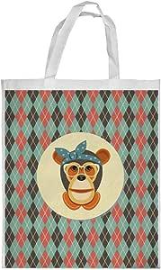 Cartoon Drawings - Monkey Printed Shopping bag, Medium Size