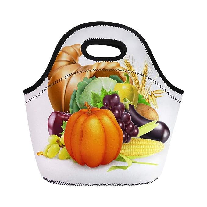 bdf5cd30a58b Amazon.com: Semtomn Neoprene Lunch Tote Bag Cornucopia Horn of ...
