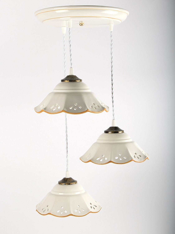 Creazioni Armony, lampadario in ceramica traforato e decorato a mano, 3 luci lunghezza massima 100cm circa, bianco con filo arancione.