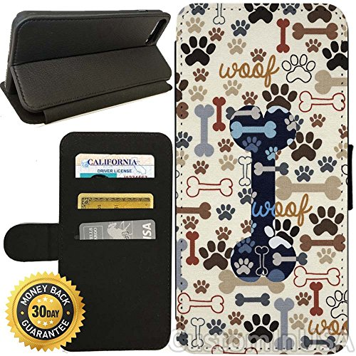 Flip Wallet Case for iPhone 7 Plus (Dog Paws And Bone Pattern) with Adjustable Stand and 3 Card Holders | Shock Protection | Lightweight | by Innosub
