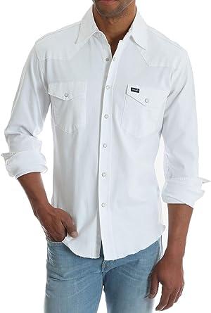 Wrangler Mens Snap Front Button Up Shirt, Large White: Amazon ...