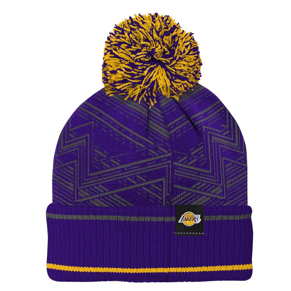 0e337ed33dd Amazon.com   Outerstuff Youth Los Angeles LA Lakers Knit Hat Jacquard Cuff  with Pom   Sports   Outdoors