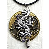 Silver Tone Dragon on Watch Base Steampunk Pendant Necklace, Good luck Jewelry, Game of Thrones Gift